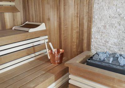 Sauna Thermowood und weiße Espe
